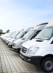 Fleet vehicles parked in a row.